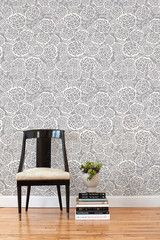 Removable wallpaper tiles - option for entryway - Hygge & West | from Joy of Oh Joy! Blog | in Petal Pusher (Gray) Tile
