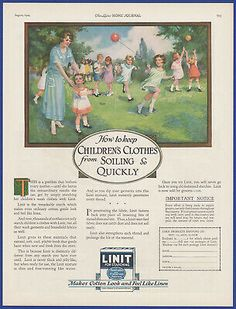 Original 1924 LINIT Starch Print Ad. This is an ORIGINAL print ad carefully removed from 1924 magazine. Perfect for framing! Vintage Laundry, Clothes Line, Print Ads, Decoration, Ephemera, Magazine, Decor, Print Advertising, Magazines