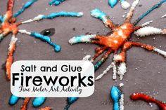 School Time Snippets: Salt and Glue Fireworks: Fine Motor Art Activity