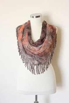 cyber monday, fast shipping, triangle scarf, butterfly scarf, winter scarf, scarves, brown ,