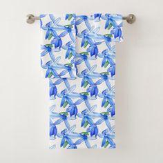 Pretty Blue White Floral Pattern Bath Towel Set  $55.18  by Bebops  - cyo diy customize personalize unique