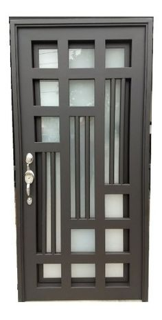 Puerta Principal De Forja Contemporanea Puertas en Mercado Main Door Of Contemporary Wrought Iron Doors in Market Window Grill Design Modern, Grill Gate Design, Balcony Grill Design, Steel Gate Design, Iron Gate Design, House Gate Design, Wooden Door Design, Main Door Design, Front Door Design