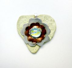 Fine Silver and Copper and Dichroic Pendant by Chris1 on Etsy, $145.00