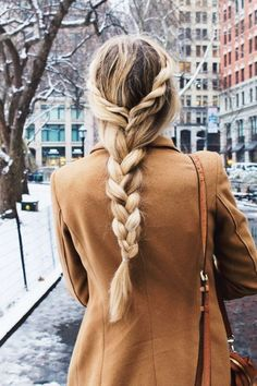 Gorgeous hair idea for long hair.  Twisted hair pulled into a regular braid.  #blonde #longhair #braids