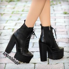 Fermina Siyah Kalın Topuklu Bot #boots #booties #shoes #black