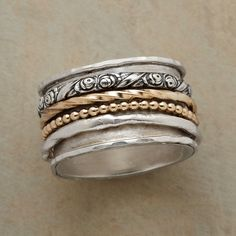ANTHOLOGY RING -- With four rings spinning in a single volume, this anthology band ring has many stories to tell. Two of the revolving rings match the sterling silver base band