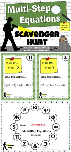 This packet includes two (2) versions of the Multi-Step Equations Scavenger Hunt activity - a total of 24 cards.