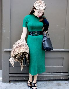 Vixen Vintage: vintage emerald knit dress, belt, shoes, leopard accents