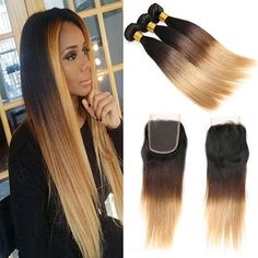 Ombre Brazilian Straight Hair Weave 3 Bundles With Closure 3 Tone Honey Blond Ombre Human Hair With Closure Remy Hair Straight Weave Hairstyles, All Hairstyles, Balayage Straight Hair, Balayage Hair, Front Hair Styles, Hair Front, Human Hair Color, Brazilian Hair Weave, Human Hair Lace Wigs
