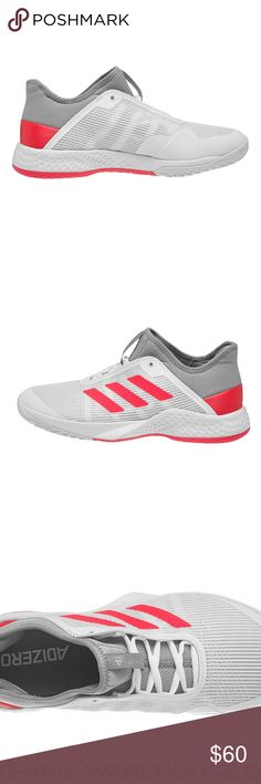 size 40 9d000 cfdae Adidas Adizero Club 2 White Grey Red Men s Shoe These have been worn once  at a 2 hour tennis practice. Only signs of wear are dirt in the bottoms.