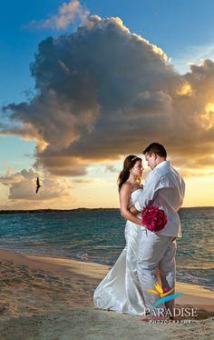 Sunset Beach Wedding Portrait www.MyParadisePhoto.com