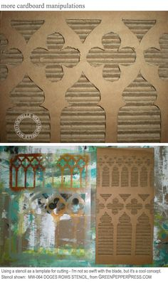 More of Michelle Wards wonderful work with cardboard and stencils; LOVE this pattern!