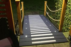 Non-slip decking strips doorway entrance ramp.