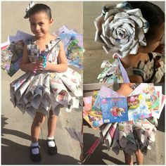 Homemade costumes for the little ones in the house to enjoy some carn Book Fairy Costume, Book Day Costumes, Recycled Costumes, Recycled Dress, Costume Carnaval, Kids Fashion, Fashion Show, Baby Kostüm, Newspaper Dress