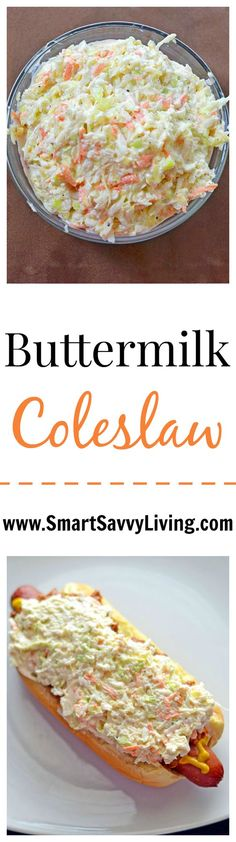 This refreshing buttermilk coleslaw recipe is a great side dish recipe to ribs and topping on a variety of sandwiches like hotdogs, burgers and pulled pork.