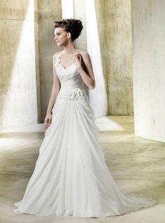 A-line Sweetheart Pleated Flower Ruched Bodice Chiffon Wedding Dress-wa0075, $254.95