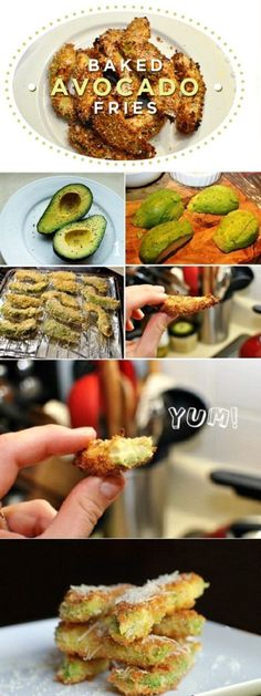 Oh My Baby Jesus! Baked Avocado Fries. Sliced avocados, flour, egg, panko. Bake at 400 for 20 min