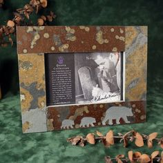 4x6 Natural Slate Picture Frame: Bear on Rust Stone   Stonegifts - Housewares on ArtFire