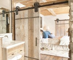 Installing a sliding barn door hardware system in the room for more spacious room! Instead, you can enjoy DIY sliding system for saving space and room decor. Adopting top-grade materials, this sliding barn door hardware kit is really. Modern Bathroom Design, Contemporary Bathrooms, Bathroom Designs, Bath Design, Modern Design, Toilet Design, Kitchen Designs, Quinta Interior, Barn Bathroom