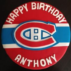 A Montreal Canadiens logo cake. Go Habs Go! Click to check out the rest of my portfolio! 40th Birthday, Birthday Ideas, Happy Birthday, Crumb Cakes, Canadian Boys, Cake Logo, Cake Stuff, Boys Playing, Montreal Canadiens