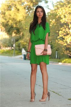 green with a pop of peach