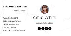 Resume/ CV/ vCard & Portfolio by Themelab15 Resume is a minimal & clean onepage CV/Resume HTML template with fully responsive layout. Clean code, simple structure, easy to use and customize. It¡¯s a great way to start telling the world about yourself. Main Features :Modern and Responsive layout HTML5 and CSS3 Validation Bootstrap Slider Pixel