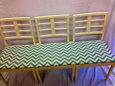 a bench seat made out of three retro chairs!