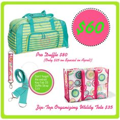 April 2014 Zip Top Organizing Utility Tote and Pro Duffle Bundle