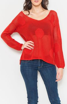 Scoop neck long sleeve polka dot crochet knit top. Wear over a pair of your favorite jeans on a cool fall day. #Wholesale Tops #clothing wholesale, #Casual #Day Tops, #Solid, #Boutique #Wholesale Boutique, #Nasty #Sexy, #New Wholesale Trends, #FallTrends