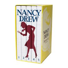 The woman, the myth, the legend—none other than the incorrigible Nancy Drew—sleuths her way through five daring adventures in this box set. And with her stylish silhouette stretched across five book sp...  Find the Nancy Drew Box Set, as seen in the The Toy Shop Collection at http://dotandbo.com/collections/holiday-boutiques-the-toy-shop?utm_source=pinterest&utm_medium=organic&db_sku=115563
