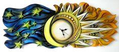 Handgemacht Holz geschnitzt Clock Cicle der Zeit von AMARETO, $420.00