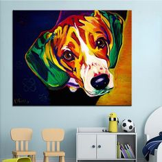 DANTE: Wanna buy me a big canvas? The wall above the love seat is awfully sparse...  Orig. Text: Large Beagle Print Oil Painting