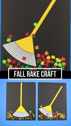 Fall rake craft Fall leaf and rake craft for kids. Use the printable template and real leaves, plastic leaves or paper leaves to make this easy fall craft with toddlers, preschoolers and older kids. Fall Crafts For Toddlers, Easy Fall Crafts, Halloween Crafts For Kids, Craft Projects For Kids, Thanksgiving Crafts, Toddler Crafts, Kids Diy, Diy Projects, Summer Crafts