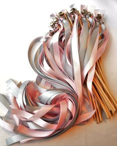 100 Twirling Wedding Wand Ribbon Bell Streamers Ribbon Bell Wands ~ Send Off Bells ~ Kissing Bells ~ Baby Shower ~ Bell favors by DivinityBraid on Etsy Wedding Send Off, Wedding Favors, Wedding Ceremony, Wedding Decorations, Wedding 2017, Reception, Wedding Ribbon Wands, Best Friend Wedding, Wedding Coordinator