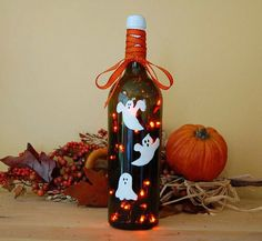 Halloween Ghost lighted wine bottle.