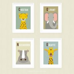 Posterset Afrikaanse Dieren 2 Baby Room, Giraffe, New Homes, Frame, Poster, Lou, Home Decor, Bebe, Picture Frame