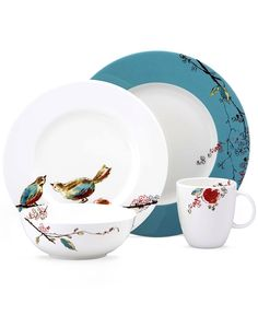 Lenox Simply Fine Dinnerware, Chirp Round 4 Piece Place Setting - Fine China - Dining & Entertaining - Macy's