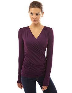 Patty Women Smart V Neck Ruched Long Sleeve Blouse Top (Purple S ...