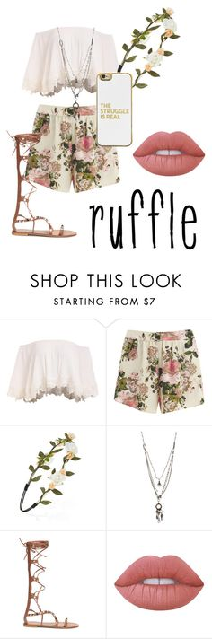 """""""Untitled #6"""" by mstuckey1330 ❤ liked on Polyvore featuring VILA, Forever 21, Love Heals, Lime Crime, BaubleBar and ruffles"""