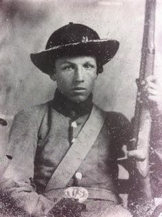 W.J. Coker, Company B, 3rd Tennessee Infantry. Captured at Ft. Donelson. Present at Chickasaw Bayou, Port Hudson, Raymond, and the siege of Jackson. He was wounded at Chickamauga. He holds what appears to be a converted U.S. 1816 musket and is wearing a U.S. belt plate.
