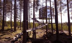 Tree Hotel in North Sweden with mirror exterior to blend with nature. Design Hotel, Nachhaltiges Design, Design Ideas, House Design, Glamping, Architectural Trees, Architectural Digest, Tiny House, House 2