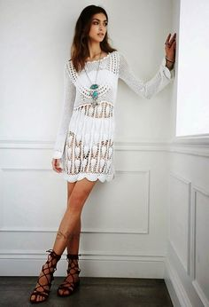 crochelinhasagulhas: Vestido branco manga longa em crochê