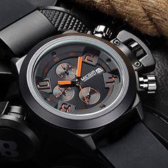 megir®brand relógios populares dos homens data cronógrafo relógio do esporte homens garantido relógio militar relógio de pulso silicone de – BRL R$ 92,31