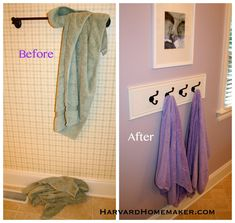 Use hooks instead of a towel bar.  Neater, towels dry better, and easier for kids when hung low enough for them to reach... so simple!