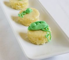Pea Pod Petits Fours: part 2 - little, almond cakes from Martha Stewart's Baking Handbook. The cake is one of the best I've ever eaten.