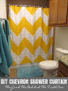 DIY Chevron Shower Curtain...may end up doing this for my sudden need to have a nautical-themed bathroom =)
