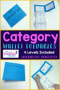 category wallet foldables are a fun interactive craftivity to teach word relationships.  K-2 Common Core Aligned. #slpeeps #schoolslp