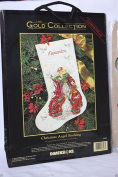 """Christmas Angel Stocking Needlecraft Counted Cross Stitch Kit GoldDimensions 16"""" #Dimensions #Angel"""