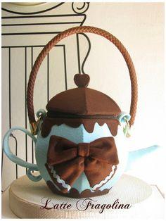 Teapot handbag Feltbag lolita fashion Mint chocolate | Etsy