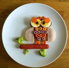 Owl on a branch food art